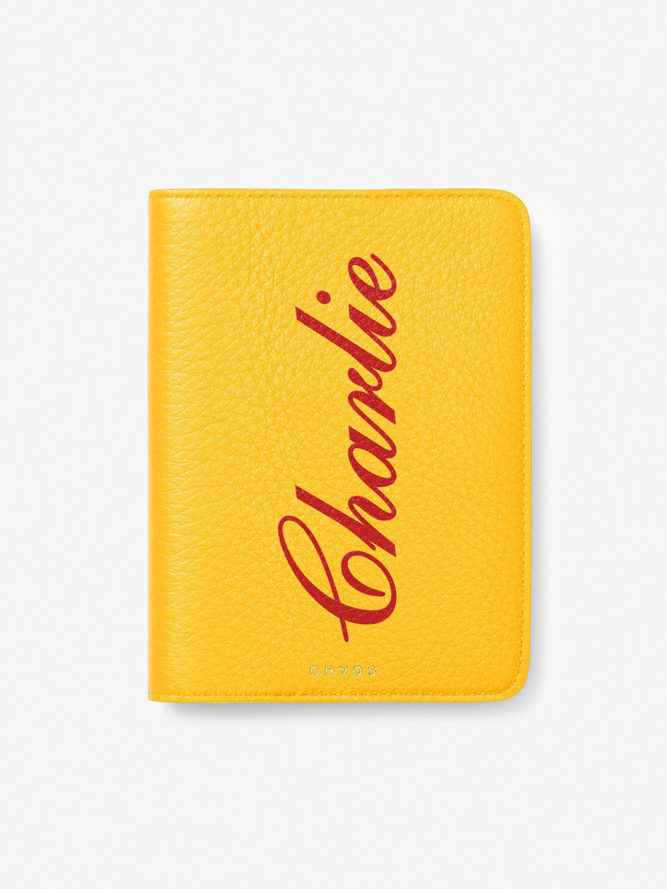Script Font Leather Passport Holder