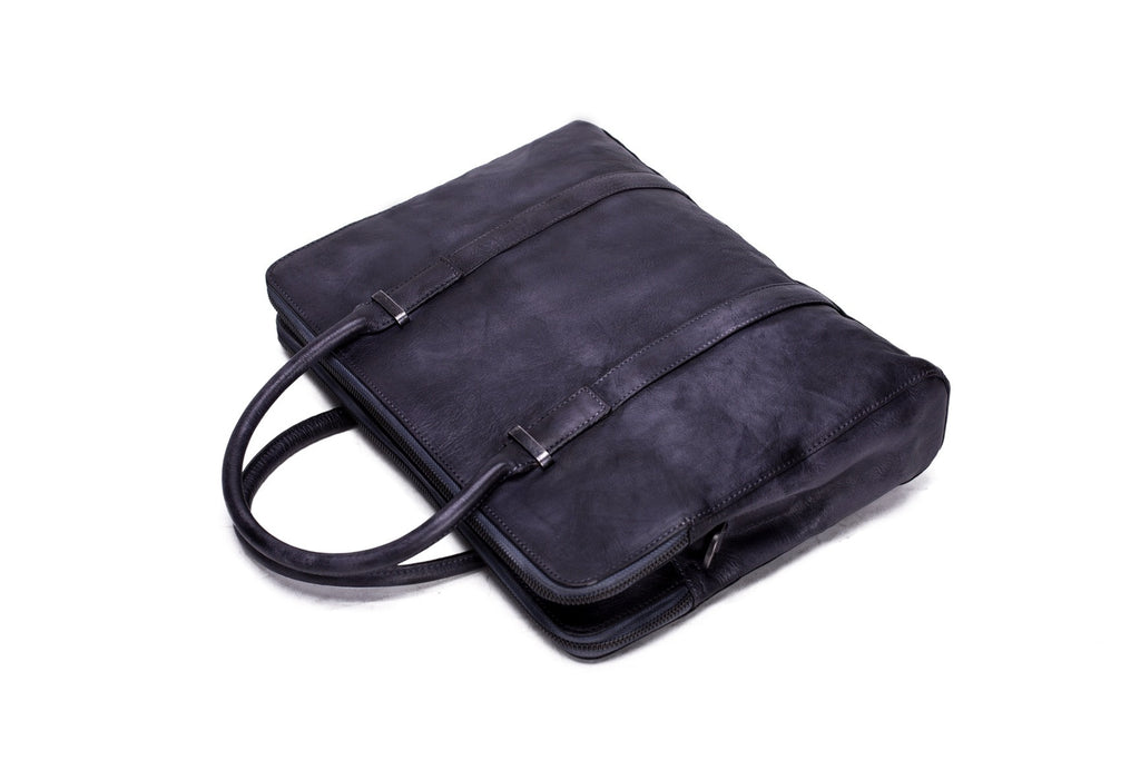 grayish blue leather briefcase