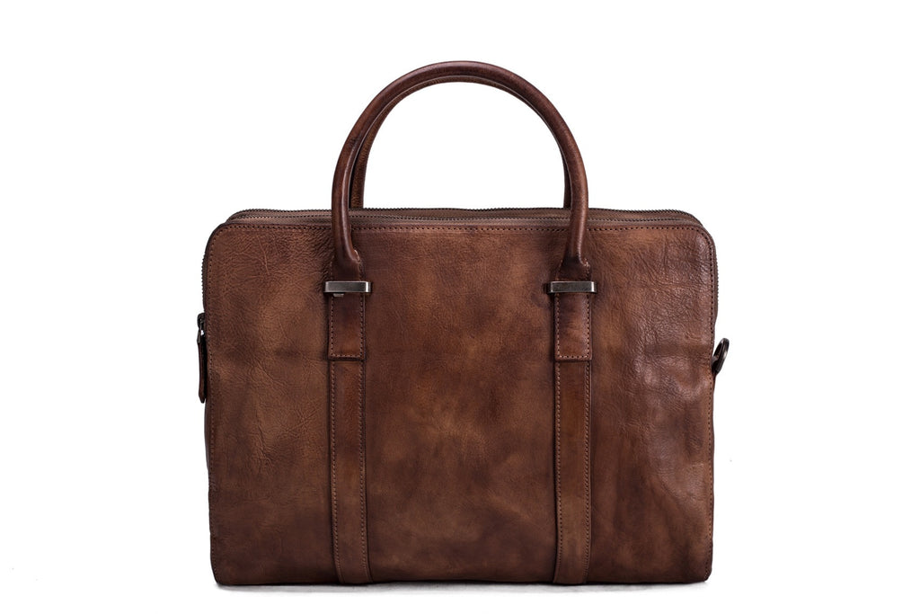 brown leather briefcase