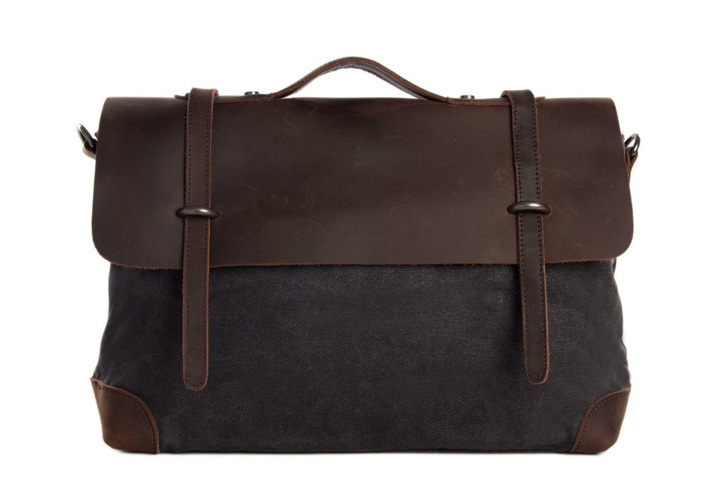 Dark Gray canvass leather briefcase