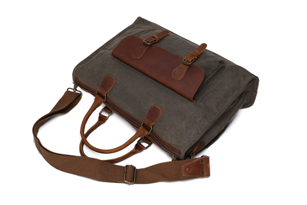 Army green Briefcase messenger bag