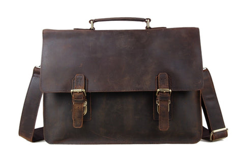 Vintage Leather Briefcase w/ Double Clasp
