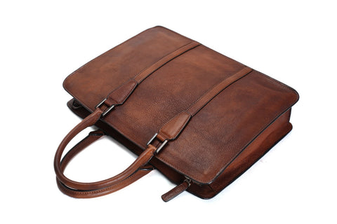 Handmade Full Grain Vegetable Tanned Briefcase