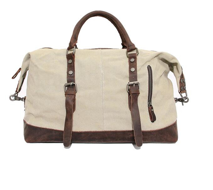 cream canvas duffel bag