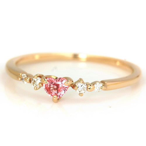 Padparadscha Sapphire Ring in 18k gold -Luner coeur-