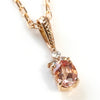 Imperial Topaz necklace top in 18k gold with diamonds -Flavier-