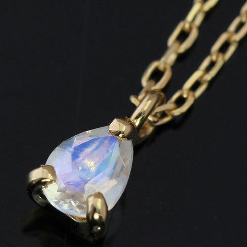 Blue moonstone necklace in 18k gold -Poele-