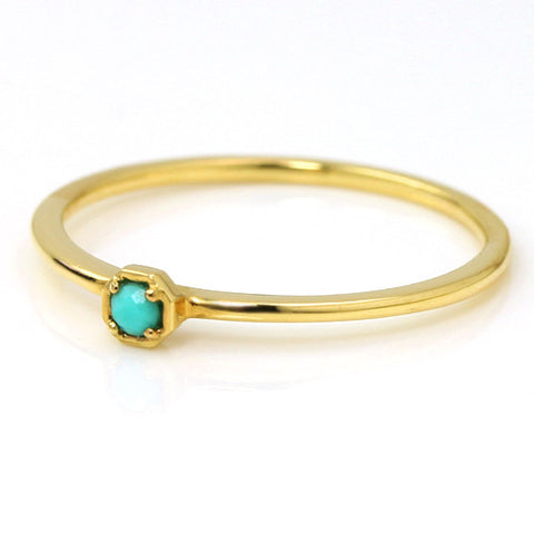 Turquoise ring in 18k gold -Anne-