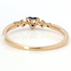 Blue Sapphire ring  in 18k gold with diamonds -Luner coeur-