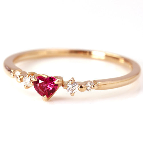 Ruby ring in 18k gold -Luner coeur-