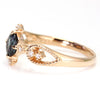 Color Change Garnet ring in 18k gold with diamonds -Bluette-