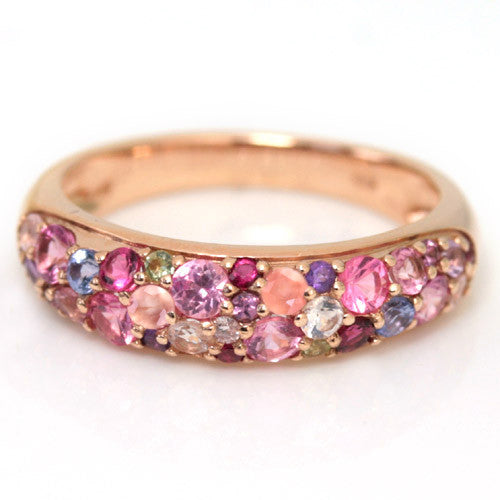 Pave Ring in 10k gold -Pink bouquet-