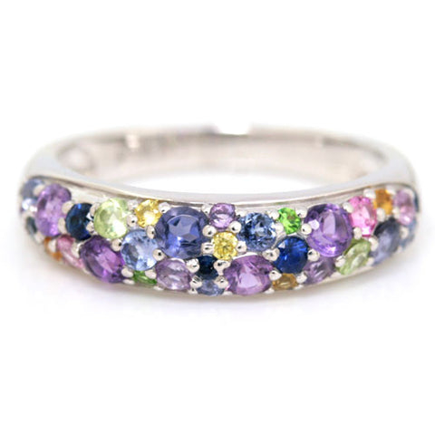 Pave Ring in 18k gold - Violet bouquet-
