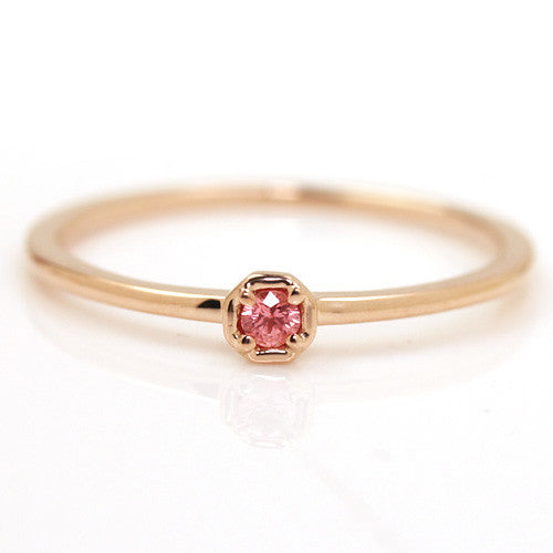 Padparadscha Sapphire Ring in 18k gold -Anne-