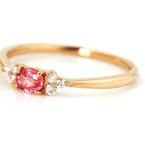 Padparadscha Sapphire Ring in 18k gold -Flavie-