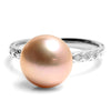 Pearl ring (purple) in 18k gold with diamonds -Gran-