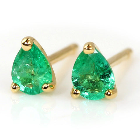Emerald earrings in 18k gold -Poele-