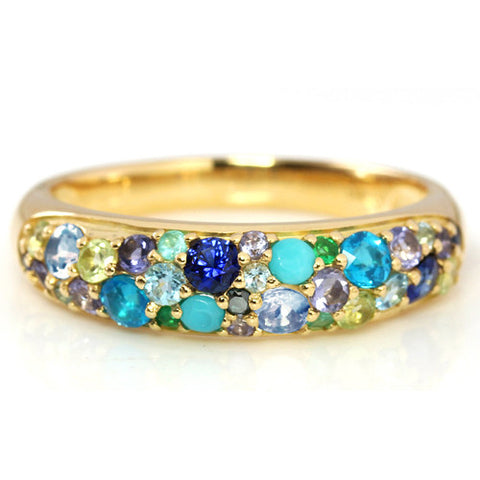 Pave Ring in 10k gold - Reve Blue bouquet-