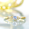 Rainbow moonstone ring with diamonds in 18k gold -Luner coeur-