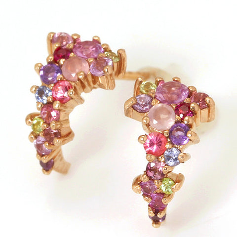 Pave Earrings in 18k gold -Pink-