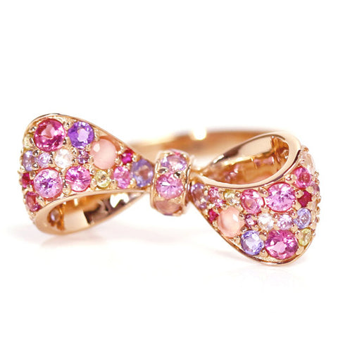 Ribbon Pave Ring in 18k gold -Pink Bouquet-