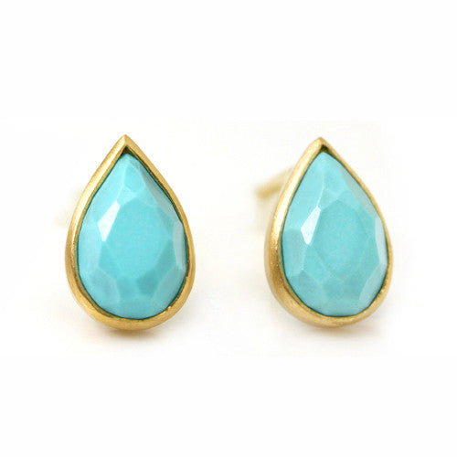 Turquoise earrings in 18k gold -Selena-