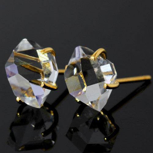 Herkimer Quartz earrings in 18k gold -Fragment Gran-