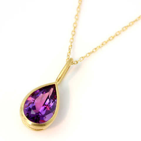 Amethyst necklace top in 18k gold -Selena-