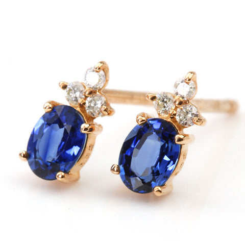 Blue Sapphire earrings in 18k gold -Flavie-
