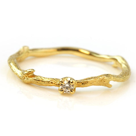 Diamond Ring in 18k gold -Brindille-