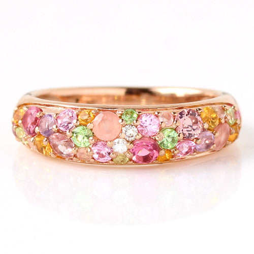 Pave Ring in 18k gold -Spring Bouquet-