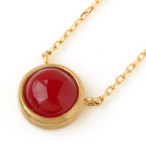 Red Coral necklace in 18k gold -Pointe-