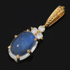 Blue moonstone necklace top with diamonds in 18k gold -Flavie-