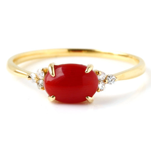 Red Coral ring in 18k gold -Flavie-