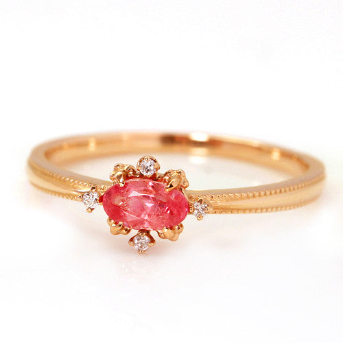 Rhodochrosite ring in 18k gold -Brigitte-