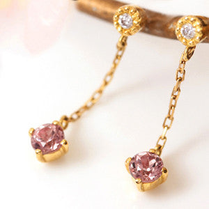 Champagne Garnet earrings in 18k gold -Alizee-