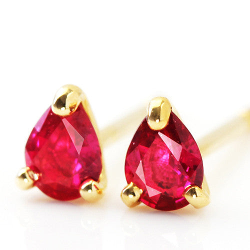 Ruby earrings in 18k gold -Poele-