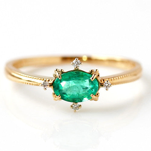 Emerald ring in 18k gold -Brigitte-