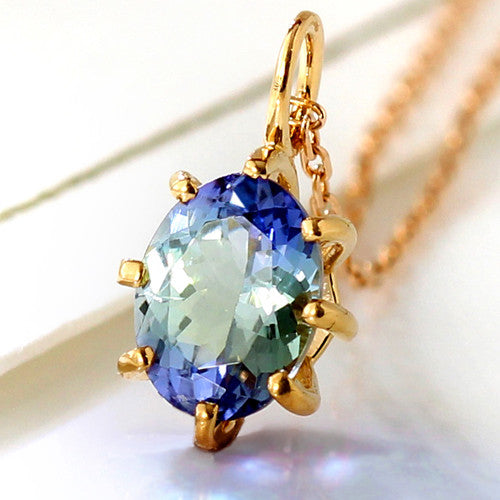 Tanzanite necklace top in 18k gold -Cepage-
