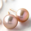 Pearl earrings (purple) in 18k gold -Colon-