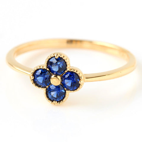 Cornflower Blue Sapphire ring  in 18k gold -Anais-
