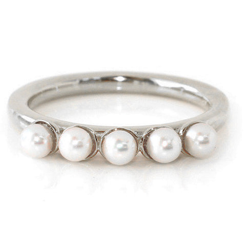 Engagement Ring in Platinum 900 -Baby Pearls-