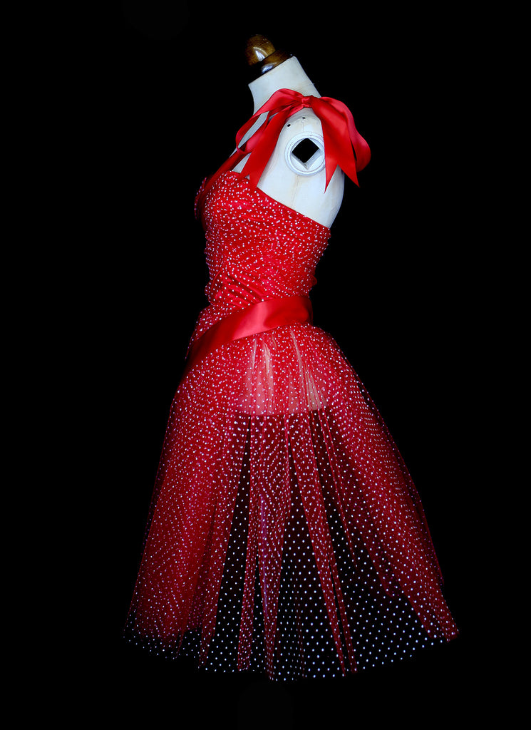 Red Tulle Moulin Rouge Circus Dress for Secret Cinema