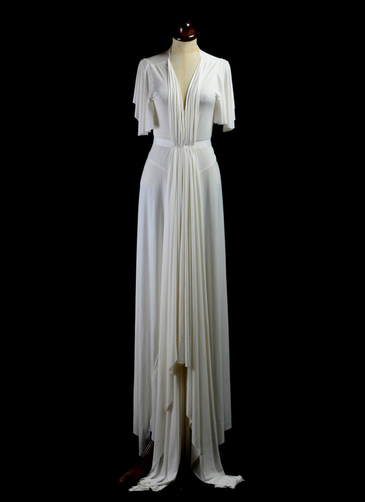 alexandra king draped jersey modern wedding dress