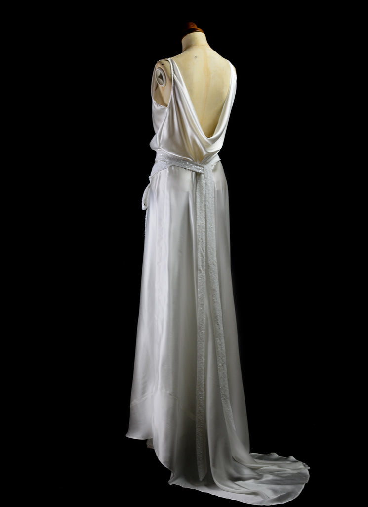 alexandra king silk satin bias cut 1930 dress