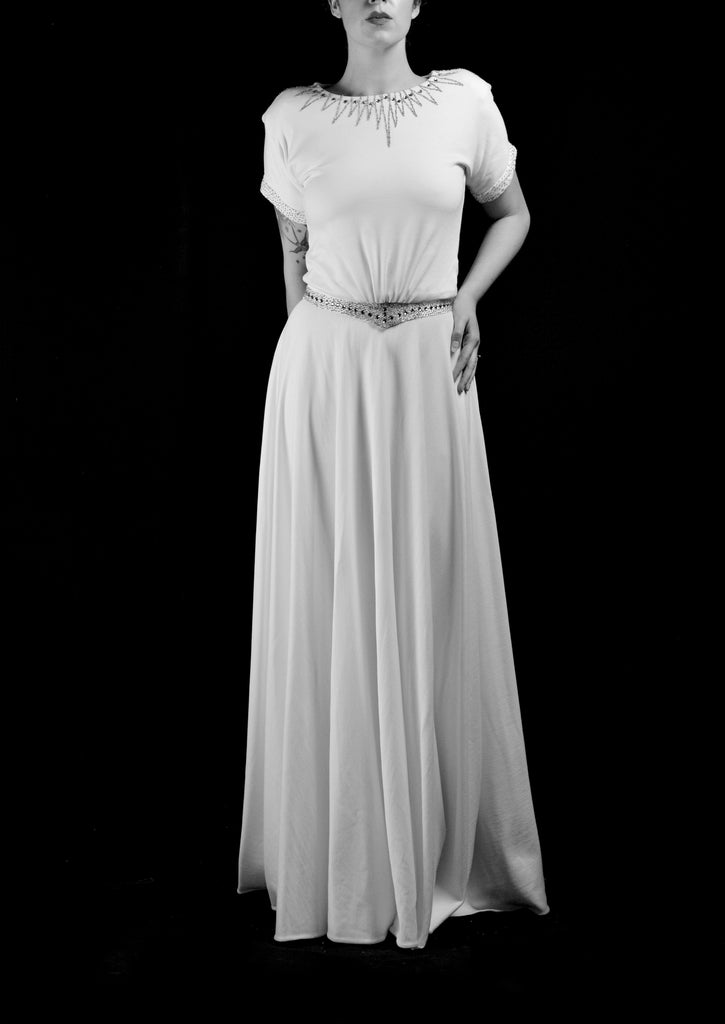 alexandra king beaded 1940s wedding dress