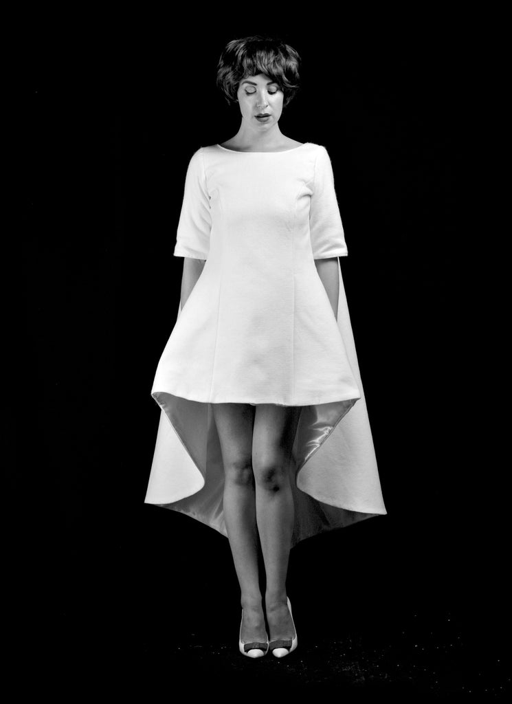 alexandra king 1960s space age modern wedding dress