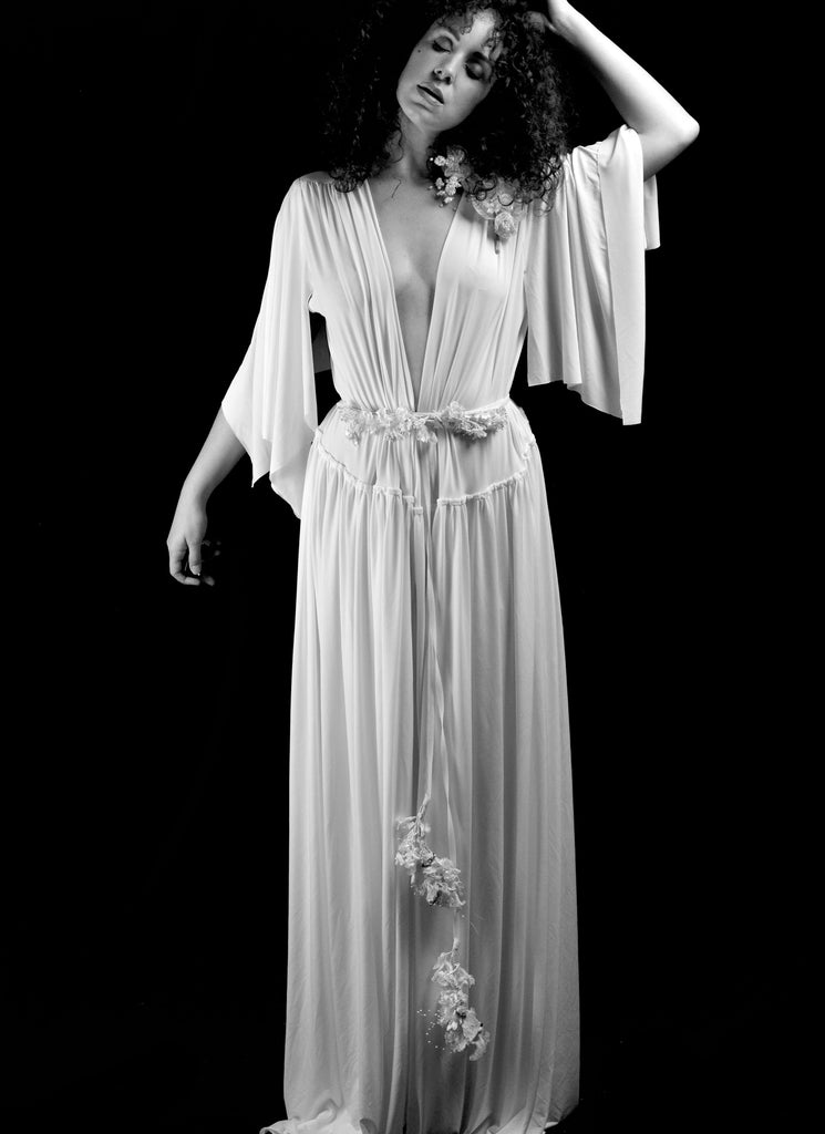 alexandra king bohemian draped jersey wedding dress