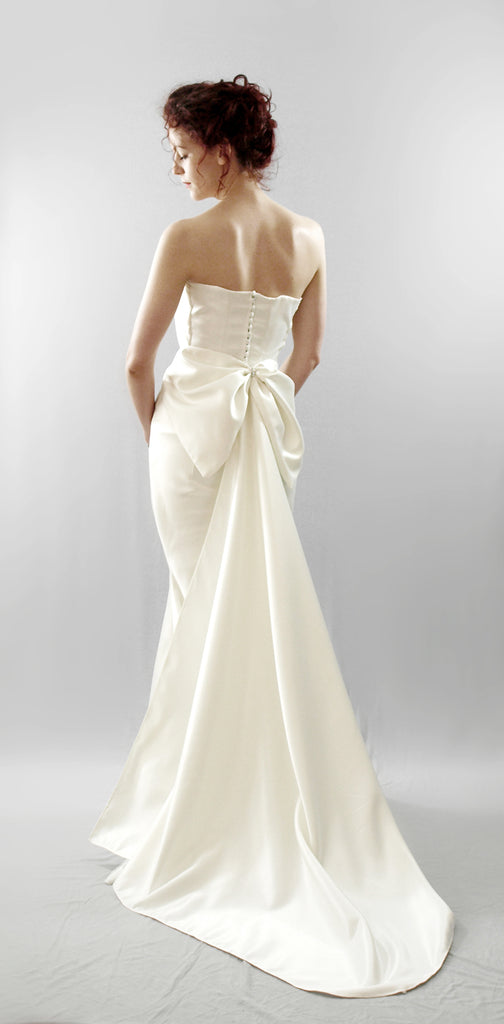 alexandra king swanson modern bias cut wedding dress