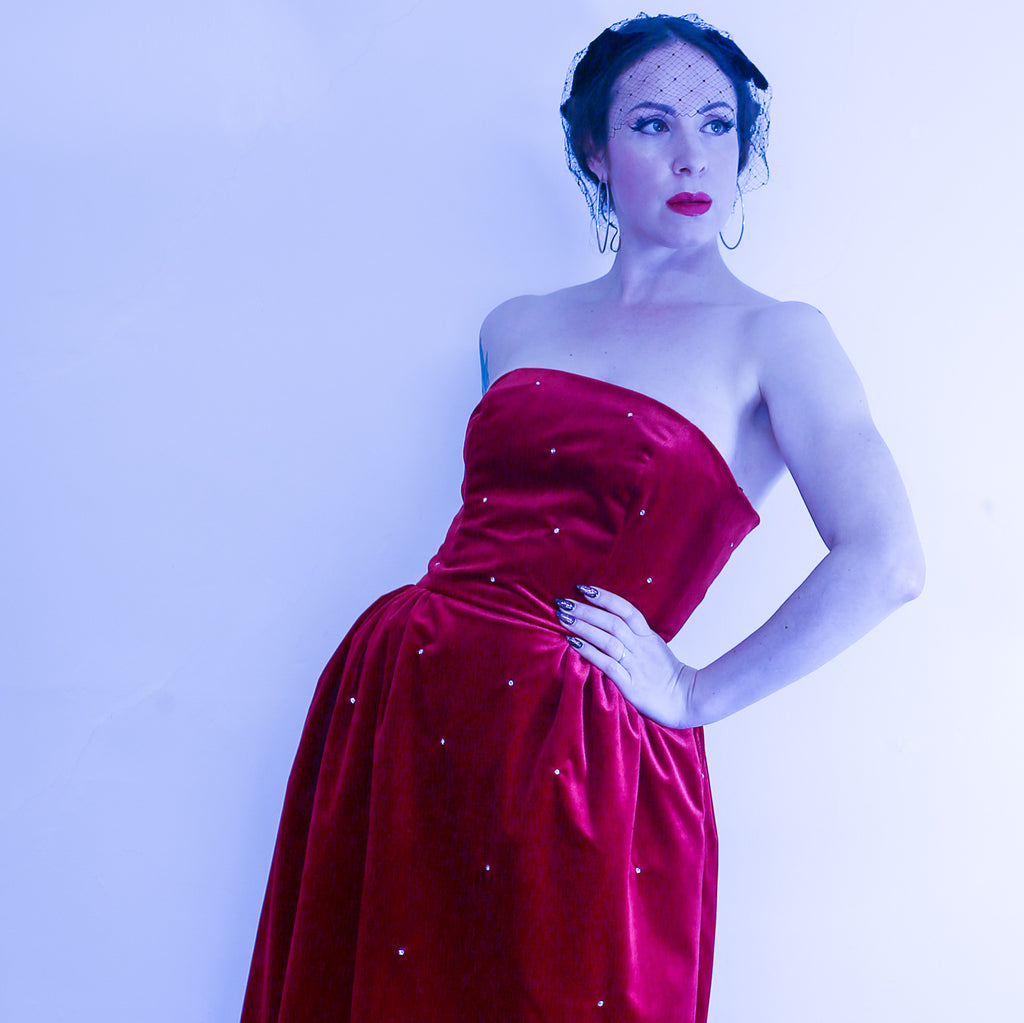 red velvet cocktail dress by Alexandra King